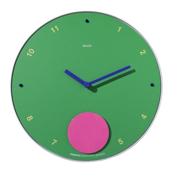orologio verde con pendolo rosa e lancette blu