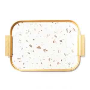 KAYMET – Vassoio Terrazzo Gold  – 35 x 25,5