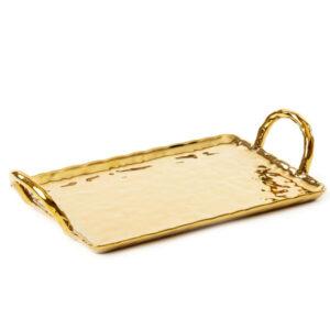 SELETTI – Vassoio oro – Fingers Porcelain Gold Tray