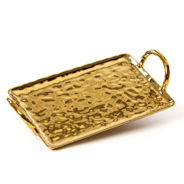 SELETTI - Vassoio oro - Fingers Porcelain Gold Tray