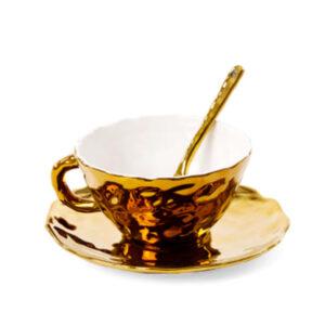 SELETTI – Tea Cup – Tazza e piattino – Oro