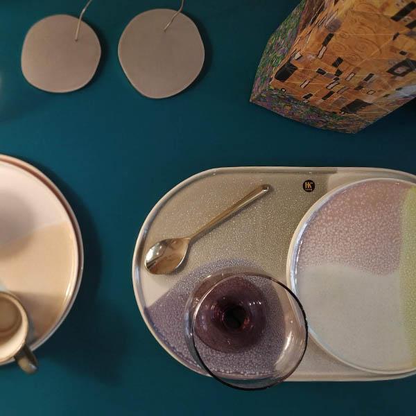 HK Living - Gallery ceramics piatto ovale green/lilac