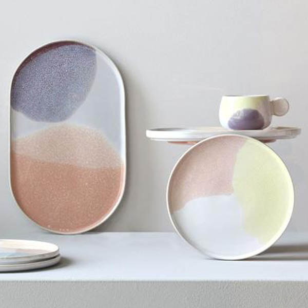 HK Living - Gallery Ceramics Piatto tondo pink/yellow