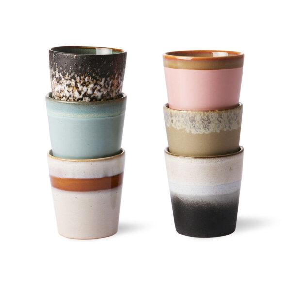 HK Living -Tazze - ceramic 70's espresso mugs set of 6