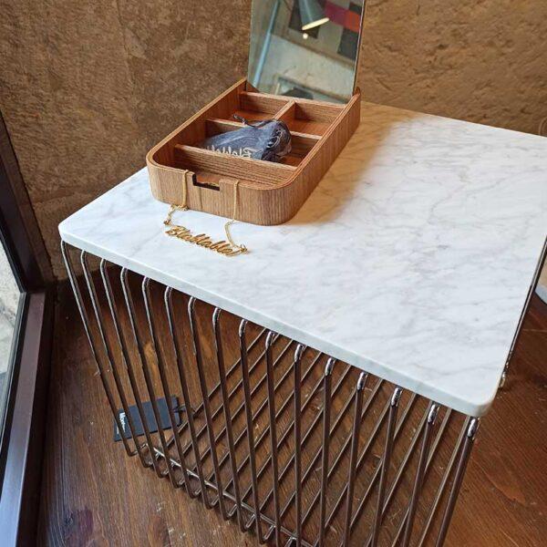 Montana - Tavolino cromo con base in marmo