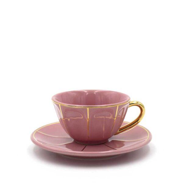 BITOSSI - Tazza con piattino rosa vintage