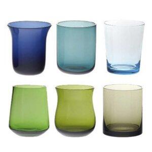 Bitossi Home – Set 6 Bicchieri acqua- Blu Verde Forme Assortite