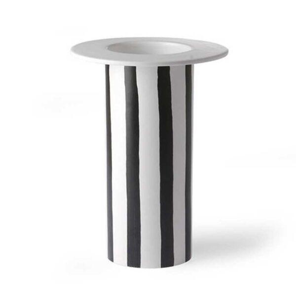 HK Living - Vaso Ceramica strisce Bianco e nero