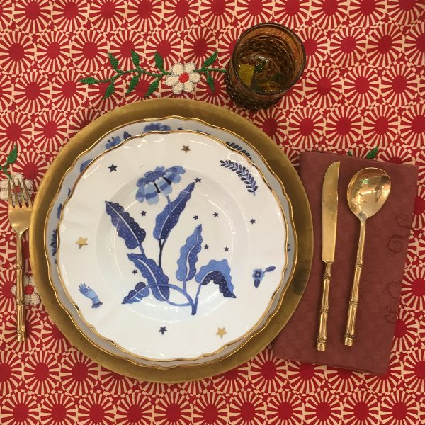 BITOSSI - Piatto fondo fiore blu