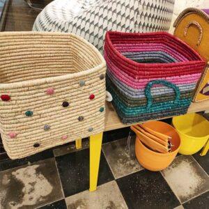 RICE DK – Cesto quadrato – Multicolor righe