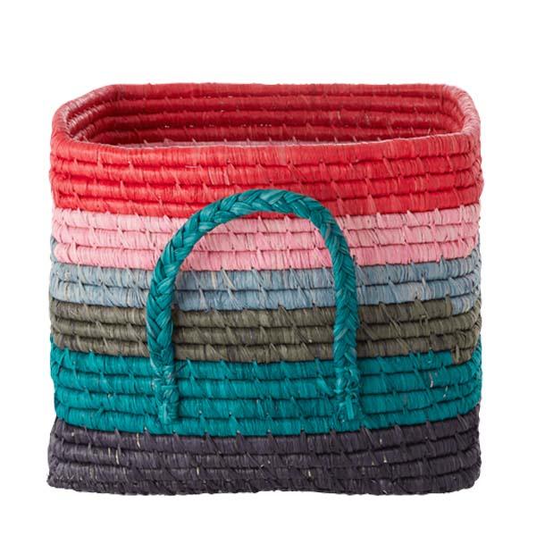 RICE DK - Cesto quadrato - Multicolor righe