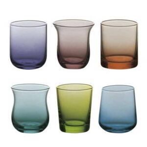 Bitossi Home – Set 6 Bicchieri acqua – Blu Verde Forme Assortite